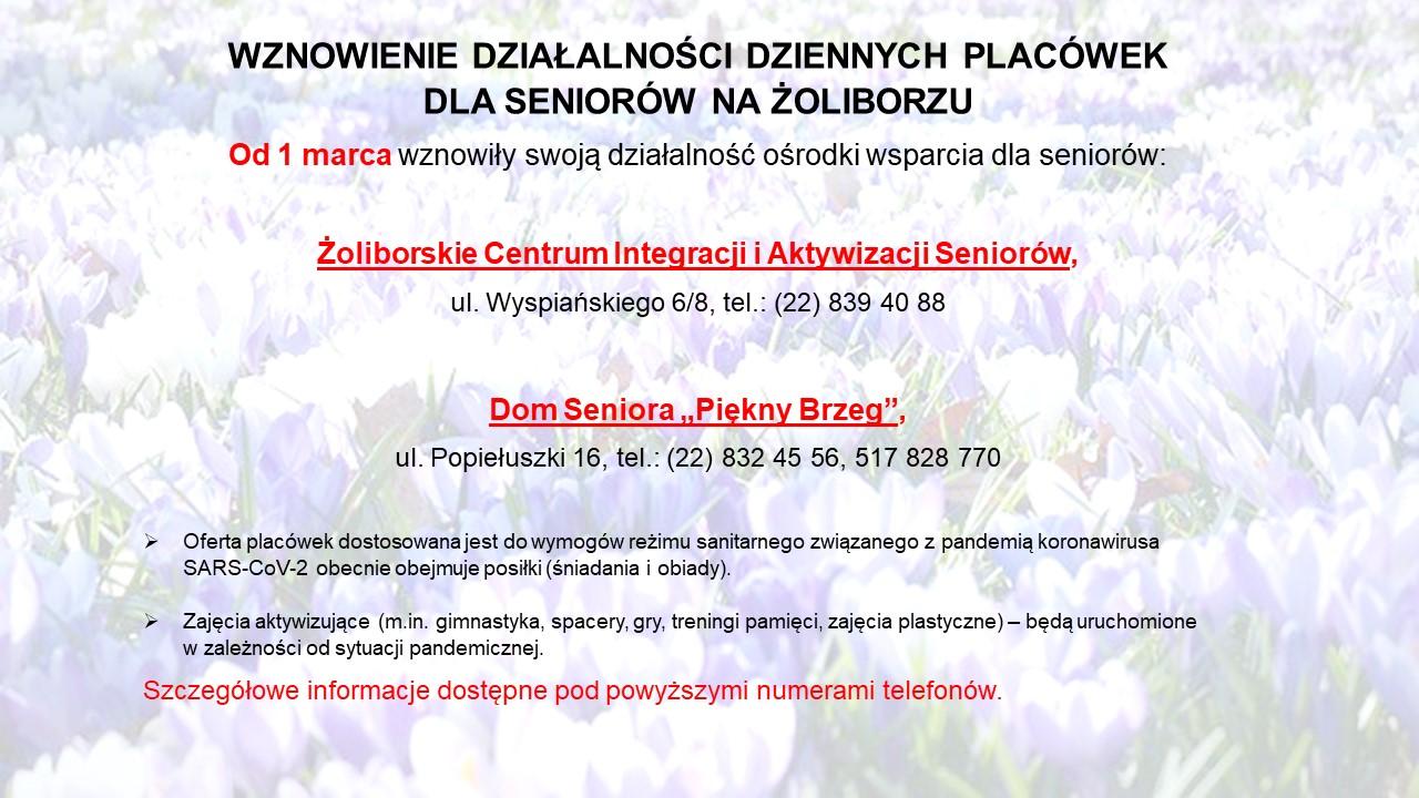 Wznowienie działalności dziennych placówek dla Seniorów na Żoliborzu